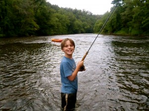 Jadon fighting a nice Tuckasegee Rainbow