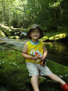 Jadon Cole fly fishing in the Great Smoky Mountains National Park
