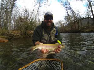 Large Rainbow on Ravens Fork in Cherokee, NC