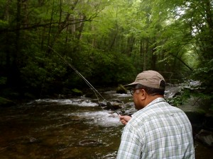 Kylon fishing in the Great Smoky Mountains National Park
