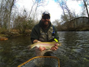 Large Rainbow on Ravens Fork in Cherokee, NC